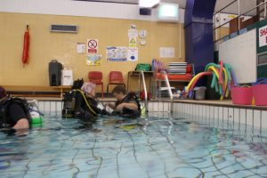 First steps. Easy does it here with Carolann, Master Scuba Instructor and Elite Professional at Scubaco Ltd and 'Scuba Diva' Louise. Louise had only just recently learned to swim! How amazing it that :-)