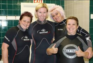 First time 'Scuba Divas' who all successfully donned scuba kit and had a go. It's what it's all about. Trying something new. Happy faces with a positive outcome. It's what we aim for each time at Scubaco Ltd. Positive learning = Positive outcome - Happy scuba divers :-)
